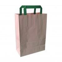 Sac cabas papier brun recyclé anses vertes  200x100mm H290mm
