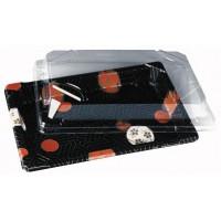 'Kamon' print rectangular plastic sushi tray  180x125mm H18mm