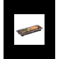 Black/gold PS sushi tray  178x178mm